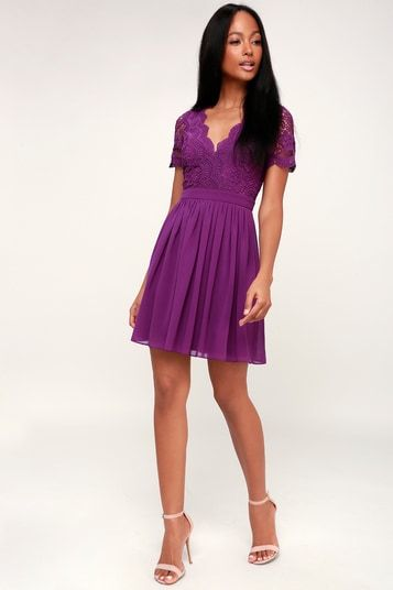 ANGEL IN DISGUISE PURPLE LACE SKATER DRESS