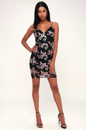 FONDEST MEMORIES BLACK LACE FLORAL EMBROIDERED BODYCON DRESS