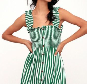 MIKA GREEN STRIPED BUTTON-UP DRESS