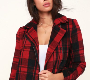 OUT OF THE WOODS RED PLAID JACKET
