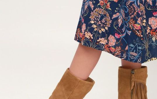 CAMRON BRANDY SUEDE LEATHER FRINGE MID-CALF BOOTS