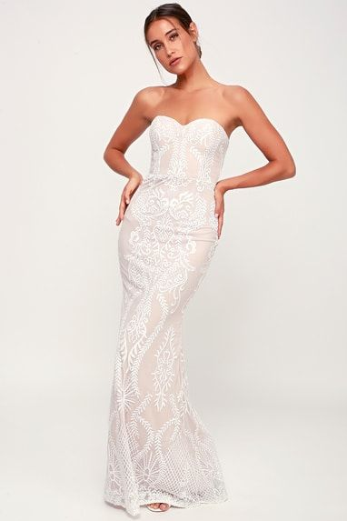 YOU BELONG WITH ME WHITE AND NUDE LACE STRAPLESS MAXI DRESS