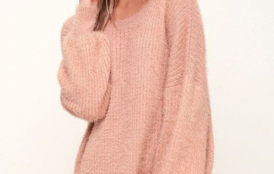 SLATER BLUSH PINK FUZZY SWEATER DRESS
