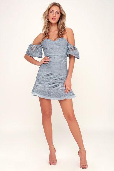 LUCILLE DUSTY BLUE LACE OFF-THE-SHOULDER DRESS