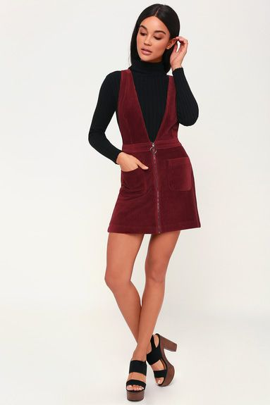 CUT TO THE CHASE BURGUNDY CORDUROY PINAFORE DRESS Credit: Lulus.com ©