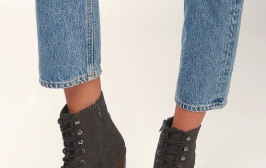 MONTIE GREY SUEDE LACE-UP ANKLE BOOTIES Credit: Lulus.com©