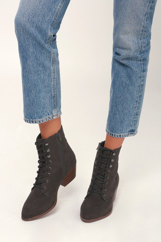 MONTIE GREY SUEDE LACE-UP ANKLE BOOTIES