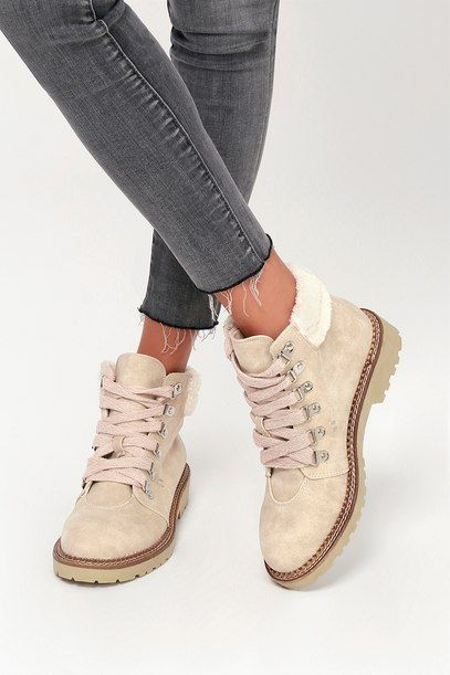 CASBAH CREAM LACE-UP ANKLE BOOTS