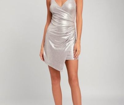LOVE AND LUSTER SILVER RUCHED BODYCON DRESS