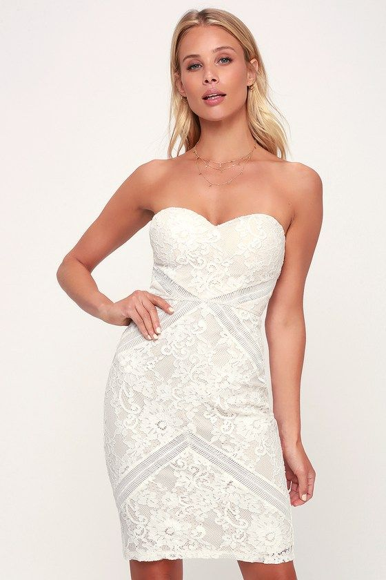 LOVE LIKE THIS WHITE AND NUDE STRAPLESS LACE BODYCON DRESS