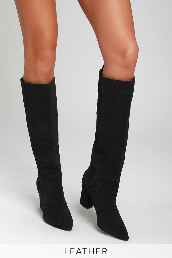 RADDLE BLACK SUEDE LEATHER KNEE-HIGH BOOTS STEVE MADDEN