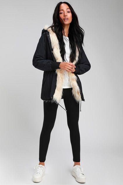 Coat Season!!!!....WYNNEY BLACK FAUX FUR LINED HOODED JACKET