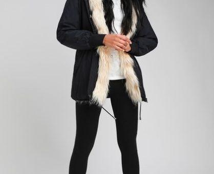 Coat Season!!!!….WYNNEY BLACK FAUX FUR LINED HOODED JACKET