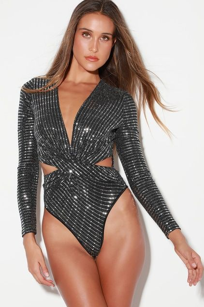 OH BABY BLACK AND SILVER LONG SLEEVE BODYSUIT