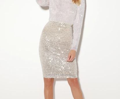 BRENNI WHITE SEQUIN MOCK NECK LONG SLEEVE TOP