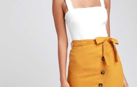 PICNIC MUSTARD YELLOW BUTTON DOWN LINEN MIDI SKIRT