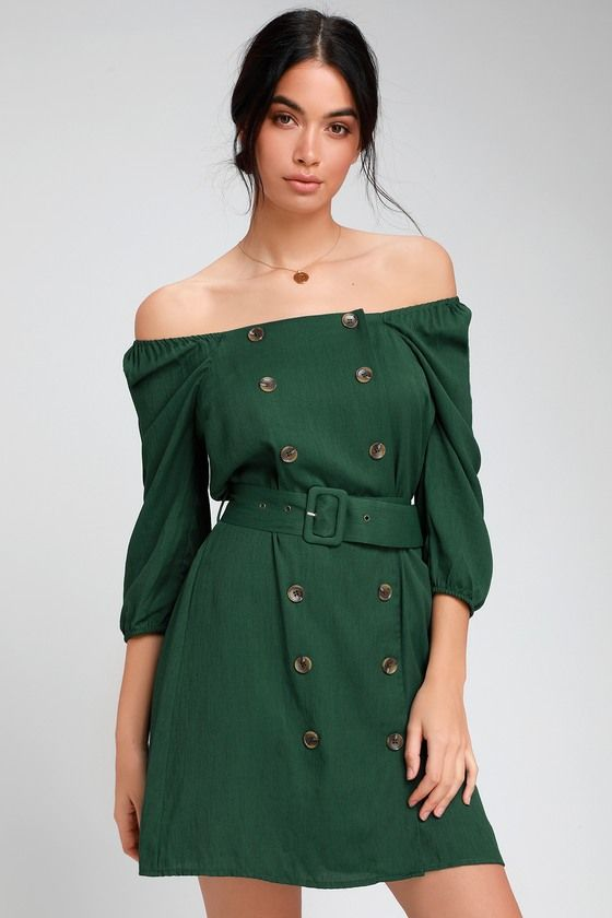 FELL IN LOVE FOREST GREEN BUTTON FRONT OFF-THE-SHOULDER DRESS