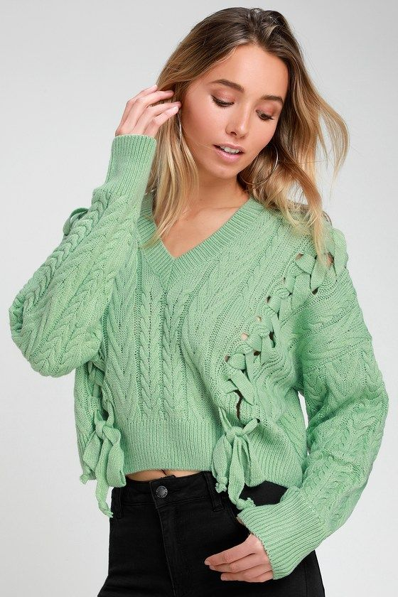 AMBRIN MINT GREEN CROPPED LACE-UP CABLE KNIT SWEATER