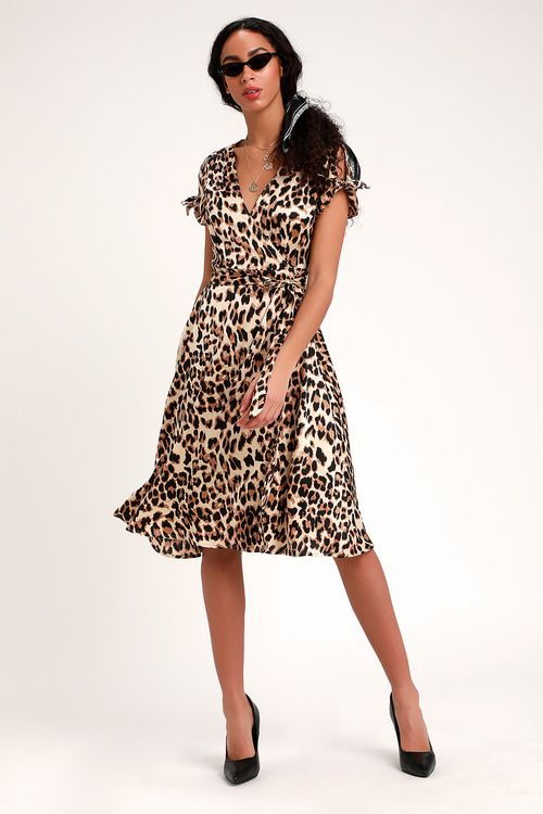 WILD NIGHT OUT TAUPE LEOPARD PRINT WRAP MIDI DRESS