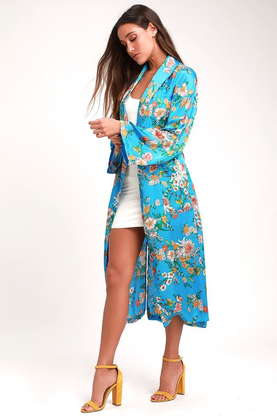 STAYCATION BLUE FLORAL PRINT SATIN DUSTER