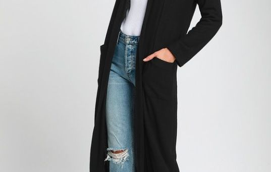 MONICA BLACK KNIT DUSTER SWEATER