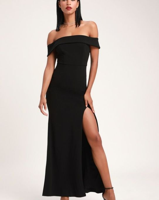 AVELINE BLACK OFF-THE-SHOULDER MAXI DRESS