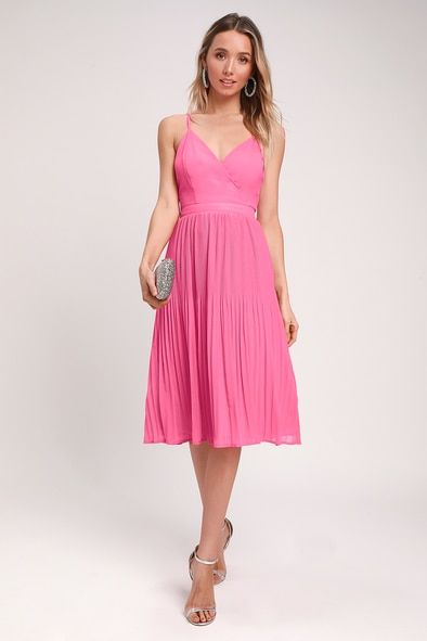 LOVE FOR YOU PINK PLEATED MIDI DRESS