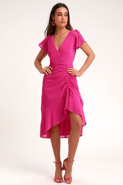 OUTSTANDING MAGENTA RUCHED HIGH-LOW MIDI DRESS
