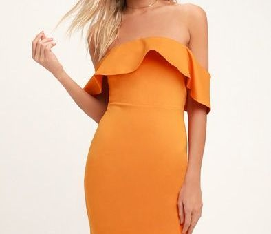 CONFIDENCE BOOST ORANGE OFF-THE-SHOULDER BODYCON MIDI DRESS