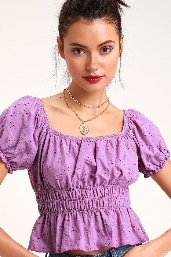 POTENT POLLY LAVENDER PUFF SLEEVE CROP TOP