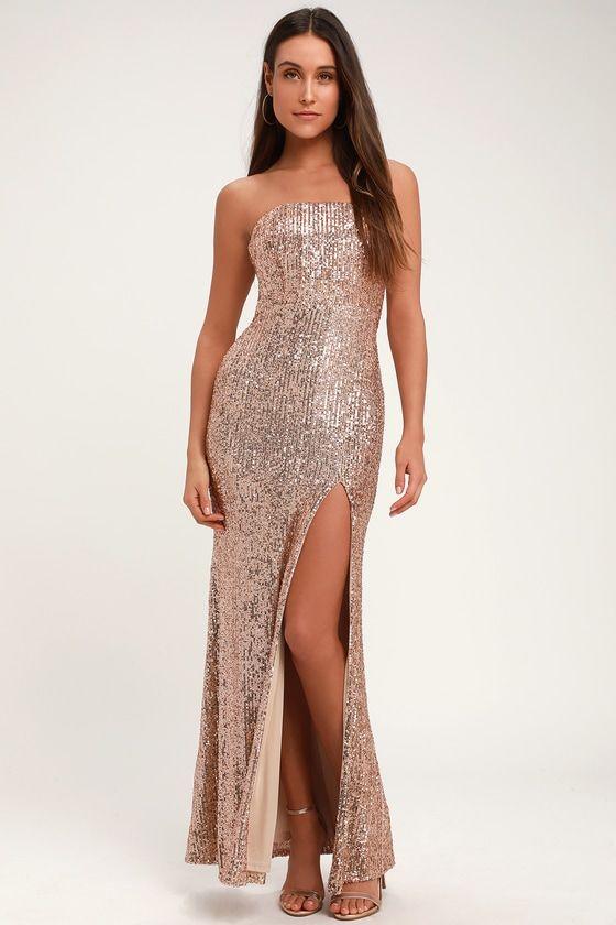 LAVISH LOVER ROSE GOLD STRAPLESS SEQUIN MAXI DRESS