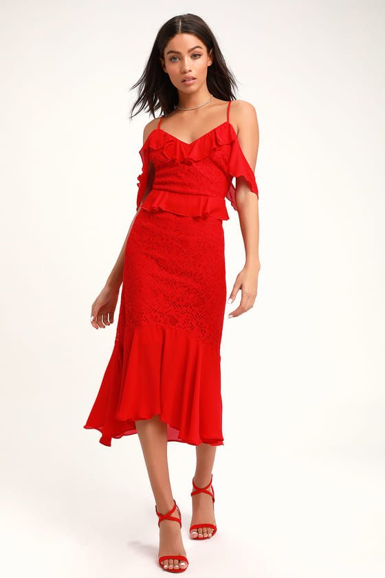 DANCE OF ROMANCE RED LACE COLD-SHOULDER MIDI DRES