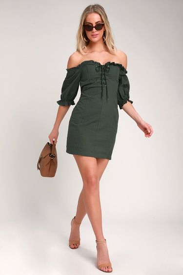 SEE YA LATER DARK OLIVE GREEN OFF-THE-SHOULDER LACE-UP