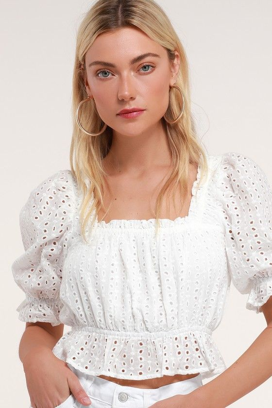 AURORA WHITE EYELET LACE PUFF SLEEVE CROP TOP
