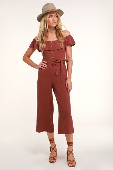 JUNE BLOOM BURGUNDY OFF-THE-SHOULDER CULOTTE JUMPSUIT
