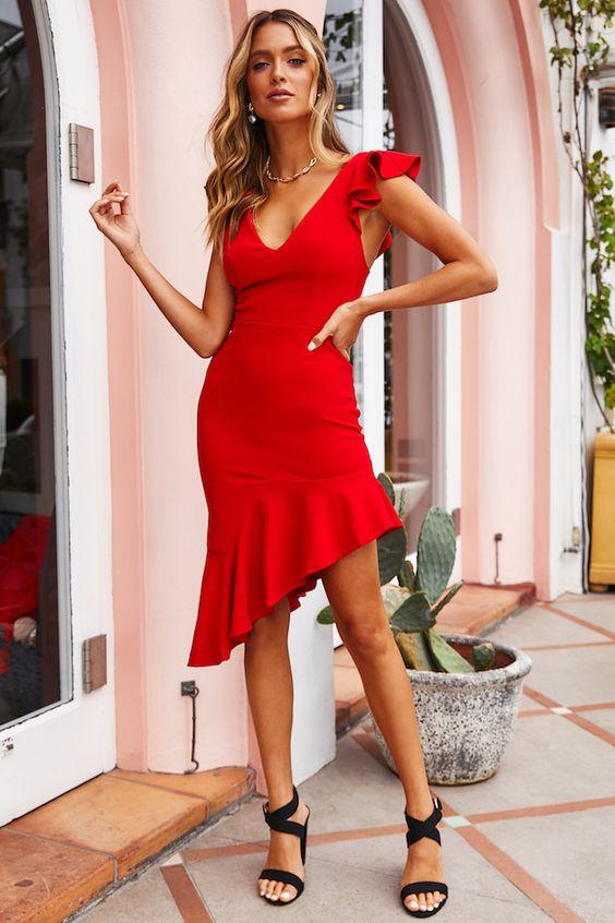 n Deep Midi Dress Red