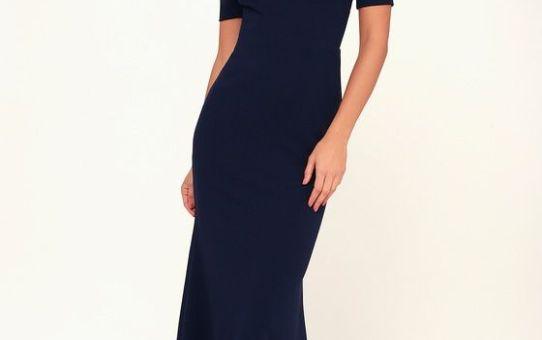 LYNNE NAVY BLUE OFF-THE-SHOULDER MAXI DRESS