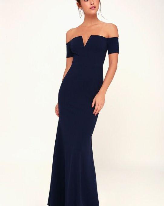 d4db3b2710b LYNNE NAVY BLUE OFF-THE-SHOULDER MAXI DRESS