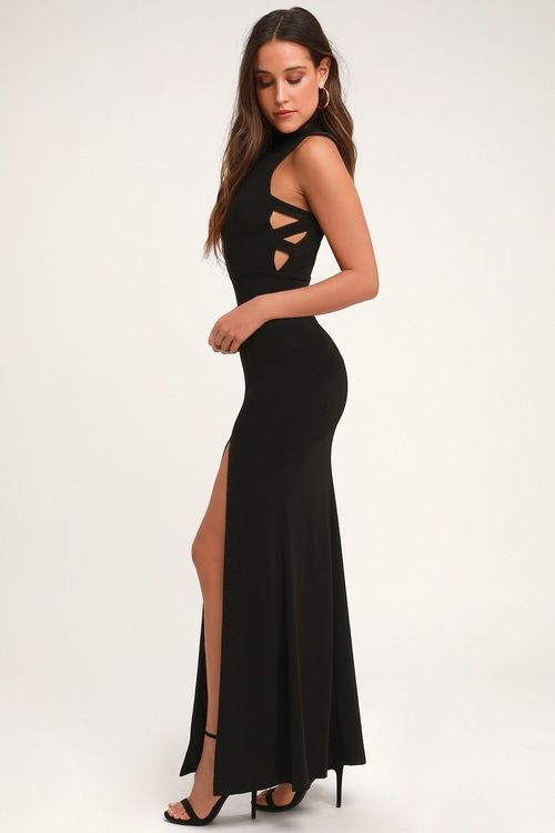 KEEP ON DANCING BLACK MOCK NECK CUTOUT MAXI DRESS