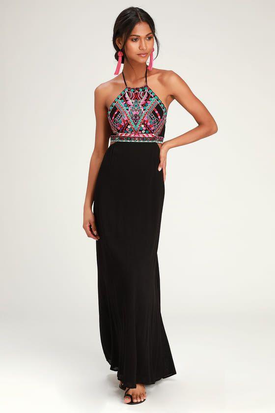 LITTLE BEACH BLACK EMBROIDERED MAXI DRESS