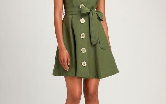 SOOTHING WAYS OLIVE GREEN BUTTON-FRONT SKATER DRESS
