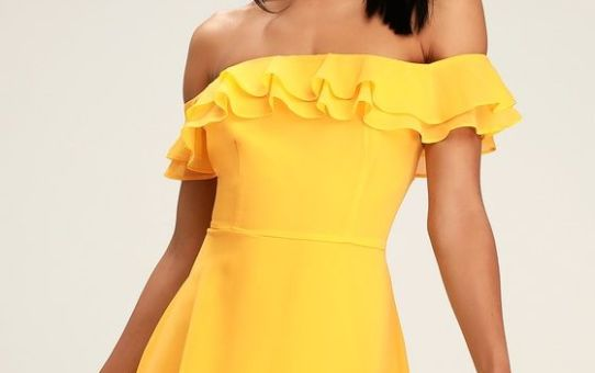 WIN YOUR HEART YELLOW RUFFLE OFF-THE-SHOULDER SKATER