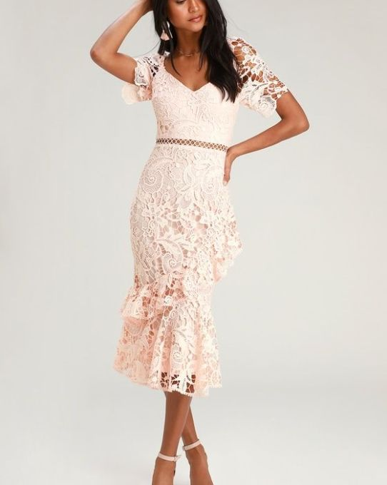 BRIARWOOD BLUSH PINK LACE RUFFLED MIDI DRESS
