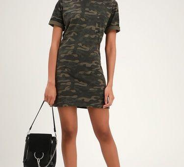 SALUTE YOUR STYLE GREEN CAMO PRINT T-SHIRT DRESS
