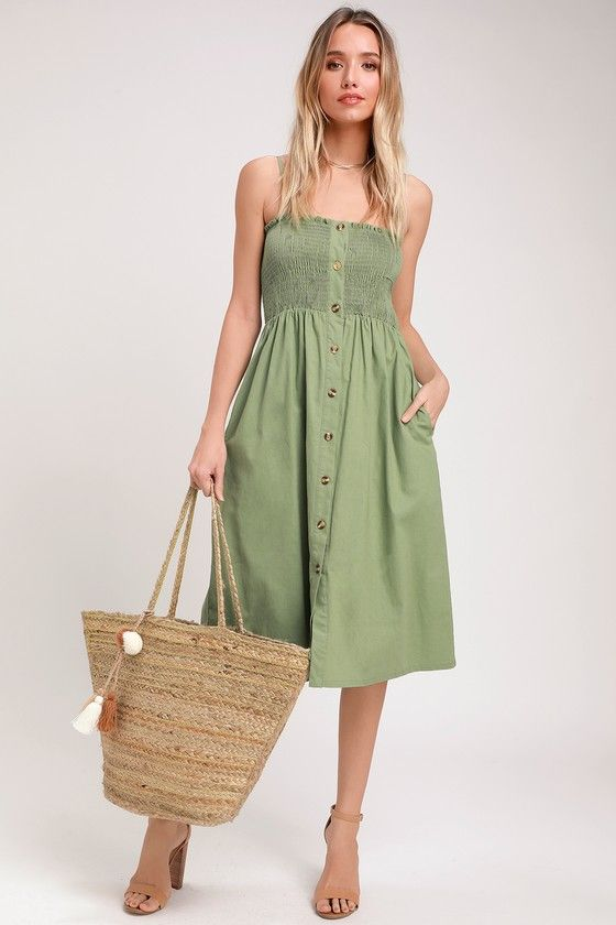 MADE TO LOVE SAGE GREEN SMOCKED BUTTON-FRONT MIDI DRESS LULUS