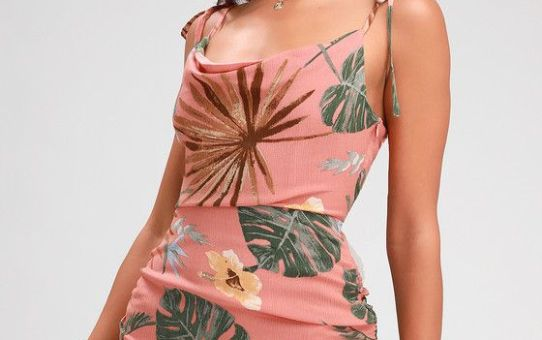 IN BLOOM CORAL LEAF PRINT RUCHED BODYCON DRESS