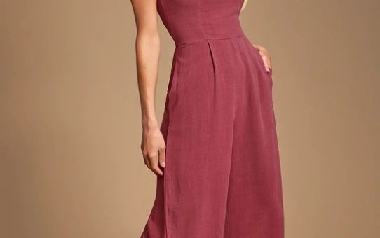 LEISURE WASHED WINE RED SHORT SLEEVE TASSLED CULOTTE JUMPSUIT