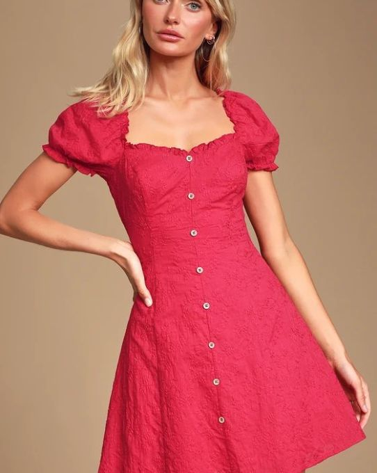 ASHLER RED EMBROIDERED BUTTON-FRONT PUFF SLEEVE DRESS