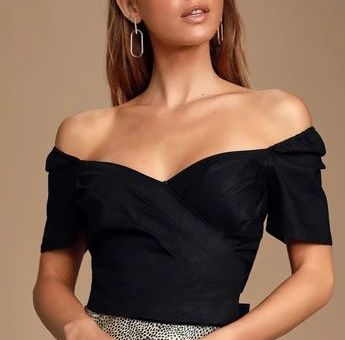 POETRY BLACK PLEATED OFF-THE-SHOULDER PUFF SLEEVE CROP TOP