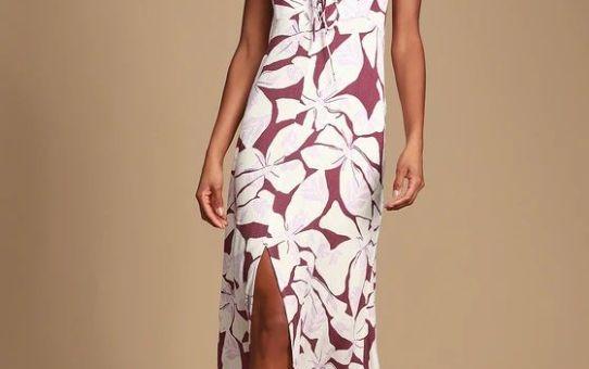 Ryder Purple Tropical Print Maxi Dress